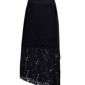 Black Tied Waist Asymmetric Lace Skirt