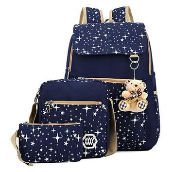High Quality Canvas School Bags Cute Bear 3 Set Backpack