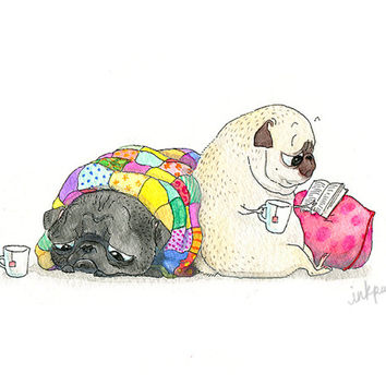 Tea and Sympathy Pug Art Print - Black Pug and Fawn Pug Snuggling with Quilt, Book and Cuppa -  Love Art, Friendship Art, Pug Art by InkPug!