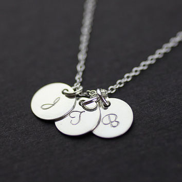 initial necklace. personalized three discs silver necklace. friendship, couple necklace. Celebrity Inspired necklace