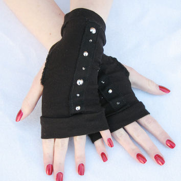 Black Fingerless Gloves Stud Trim Goth Short gloves mittens Bamboo Sustainable