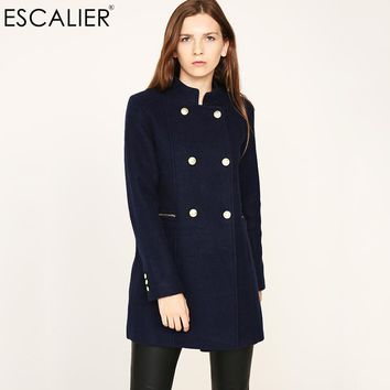New Design Vogue Winter Women Coat Navy Coat With Big Fur Collar Warm Long sleeved Outerwear Overcoat with Button