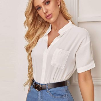 Solid Notch Neck Pocket Front Blouse