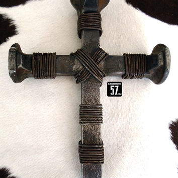 Railroad Spike Cross Rustic Wire Cross Metal Cross Western Wall Cross Railroad Spike Art Railroad Spike Decor Rustic Metal Crosses RSC-023