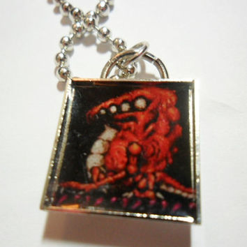 Metroid videogame necklace CROCOMIRE pendant on ball chain - 18 inch chain FREE size adjustments - super metroid - SNES - gamer jewelry