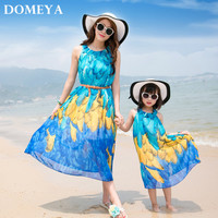 2017 New Summer Dress Matching Mother Mom and Daughter Clothes 2 Color Women/girl Dress Family Matching Clothes JHGR017
