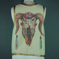 Southwestern Deerskin Vest Painted Steer Southwest Ethnic Tribal L XL