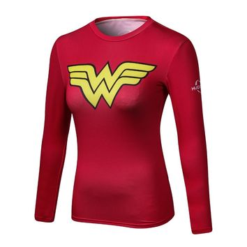 Ladies Comics Marvel Superman Captain America Wonder Women's Compression Shirts Long sleeve T Shirt Female Fitness Tights Shirts