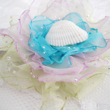 Mermaid Hair Bow, Aqua Purple Green Seashell Accessory