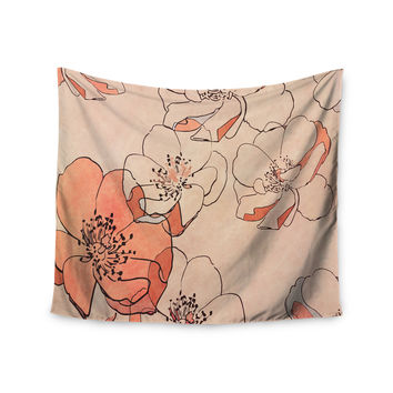 """Alison Coxon """"Painted Wild Roses"""" Coral Floral Wall Tapestry"""