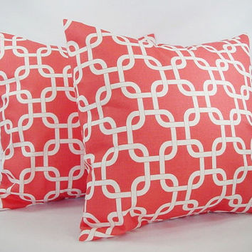 Couch Pillows - Coral and White Chainlink - 16 x 16 inches Decorative Couch Pillow Cushion Cover Accent Pillow