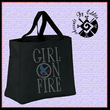 The ORIGINAL Hunger Games Inspired Girl on Fire Sturdy Rhinestone Tote Bag (your choice of color) Mockingjay