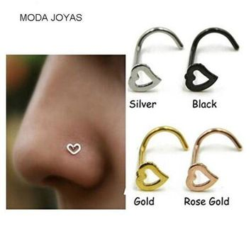 ac DCCKO2Q 2pcs/lot Hollow Heart Twist Curve Screw Nose Nostril Piercing Ring Stud Nail Piercing Body Jewelry Nose Hoops