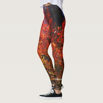 Red Trees in the Morning with Personalized Name Leggings
