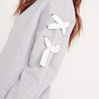 Missguided - Chunky Lace Up Sleeve Sweatshirt Grey
