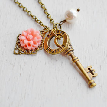 Skeleton Key Necklace,Coral Pink Flower with Key,Believe You Can Necklace,Romantic Whimsical,Key Charm Pendant,Key Jewelry,Bridesmaid Gift