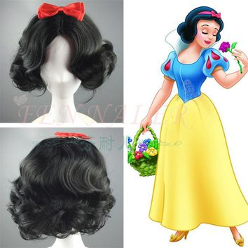 Princess Snow White Black Wig Curly Hair Short Wavy Wig Cosplay Halloween Role Play with Bowknot
