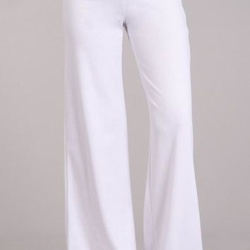 Wide Leg Ponte Pants in White
