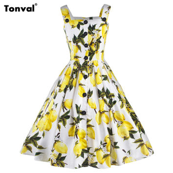 Tonval Vintage Lemon Pattern Dress Square Collar Backless Sexy Dress Womens Rockabilly Retro Swing Summer Dresses