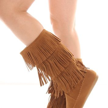 TAN FAUX SUEDE MOCCASIN STYLE FRINGE BOOT