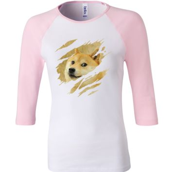 What does the fox say 3/4 Sleeve Baseball Ladies Jersey