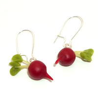 Radish Earrings   red food miniature luna  FREE by HModine on Etsy