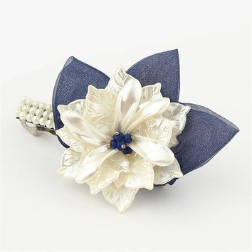 Korea Hair Accessories Flower Pearls Hair Clips For Women Crystal  Hairgrips Hair Bows Spring Hairpins Barrette 4