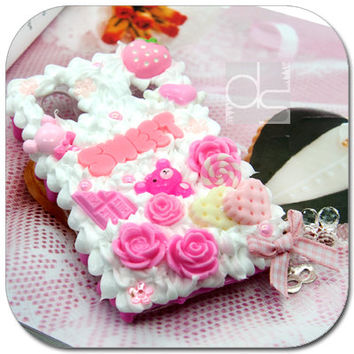 Samsung Galaxy Ace S5830 Skin Case: 3D Pink Sweet Deco Whip Cream Hand Craft Custom Made UniqueSnap on Hard Back Case Cover (SW)