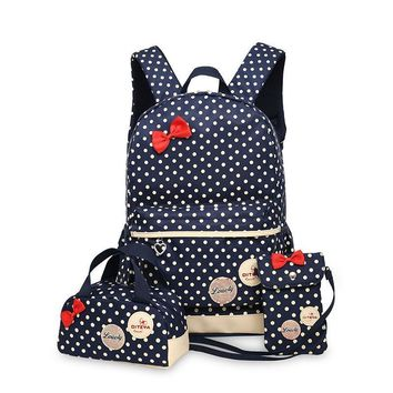 3 Pcs/Set Polka Dot Canvas Kids School Bags