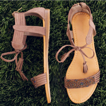 Rayne Beaded Sandals - Taupe