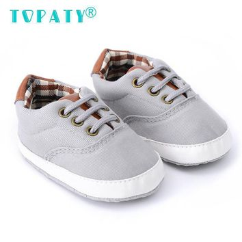 TOPATY Lace-Up Plaid Canvas Sneakers Brand New Baby Boys Soft Soled Toddler Shoes Infant Non-slip First Walkers Sapatos De Bebe