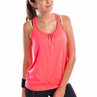 Women's Active Racerback Athletic Sports T-shirt Long Yoga Crop Tank Top