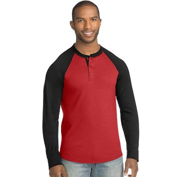 Hanes Men's FreshIQ X-Temp Colorblock Long-Sleeve Raglan Henley Tee Style: 5A60-Chili Pepper/Black L