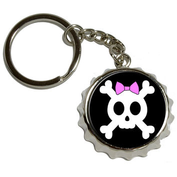 Girly Skull And Crossbones With Hairbow Pop Cap Bottle Opener Keychain