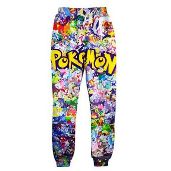Newest Fashion Joggers Pants 3D Graphic Printed Funny Anime Pokemon Sweatpants for mens/womens Hip Hop style Trousers