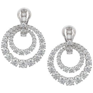 Chopard 18k White Gold and Diamond Double Hoop Earrings 9.40 ct.