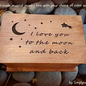 I love you to the moon and back, engraved music box, custom music box, jewelry box, engraved gift, birthday gift, baby gift, moon and stars