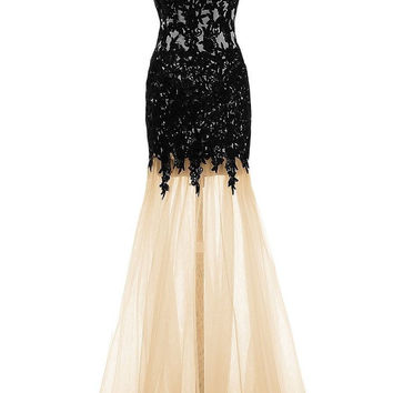 Mermaid Prom Dresses,Applique Prom Dresses,Long Evening Dress