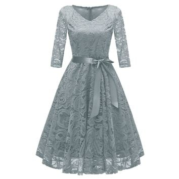 Women's Vintage 3/4 Sleeve V Neck Belt Tunic Slim Swing Bridesmaid Floral Lace Dress Wedding Party A Line Dresses Vestidos