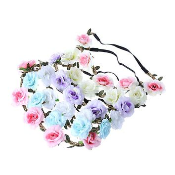 1 PC Bohemian Rose Flowers Hair Band Wedding Bride Floral Garland Summer Flower Headband Crown Wreath Tiara Hair Accessories