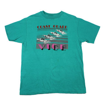 Vintage 80s Miami Vice Coast Guard T-Shirt in Teal Mens Size Medium