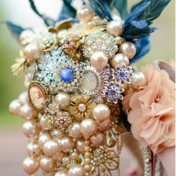 Great Gatsby Brooch Bouquet navy royal beige vintage pearl cascading cameo rhinestone feather enamel flower floral bride cream pearl dangle