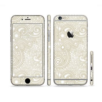 The Tan & White Vintage Floral Pattern Sectioned Skin Series for the Apple iPhone 6 Plus