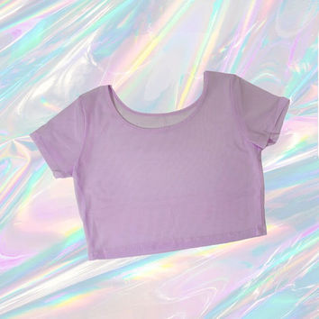 sheer mesh crop top pastel purple tumblr fashion lilac EDC club kid vintage 90s soft pastel grunge