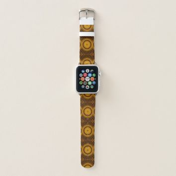Brown and Yellow Southwest Sunburst Design Apple Watch Band