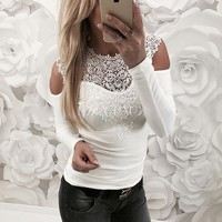 White Lace Stitching Strapless T-shirt
