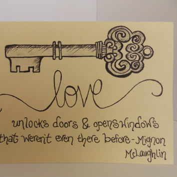 I Love You - Love Quote and Antique Key Handmade Greeting Card - Anniversary - For Husband - For Wife - Engagement - Wedding - Miss You