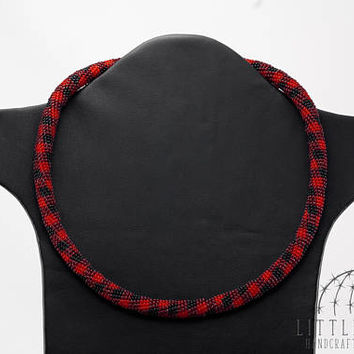 Red cage, Everyday necklace, Crochet bead necklace, Women accessories, Office style jewelry, Daily jewelry, Seed bead jewelry, Red and black