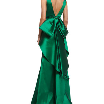 Sachin & Babi Noir Sleeveless Ruffle-Trim Satin Gown, Emerald