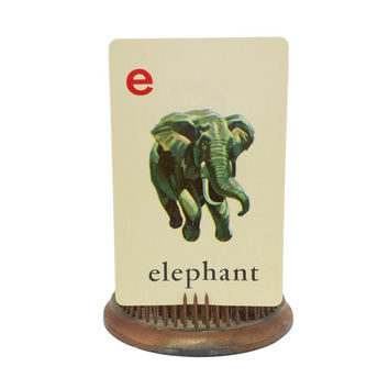 "Vocabulary Picture Flashcard, Vintage Alphabet Flash Card, Elephant Illustration, Letter ""E"", ABC's, Scrapbook Ephemera Collage, Single Swap"